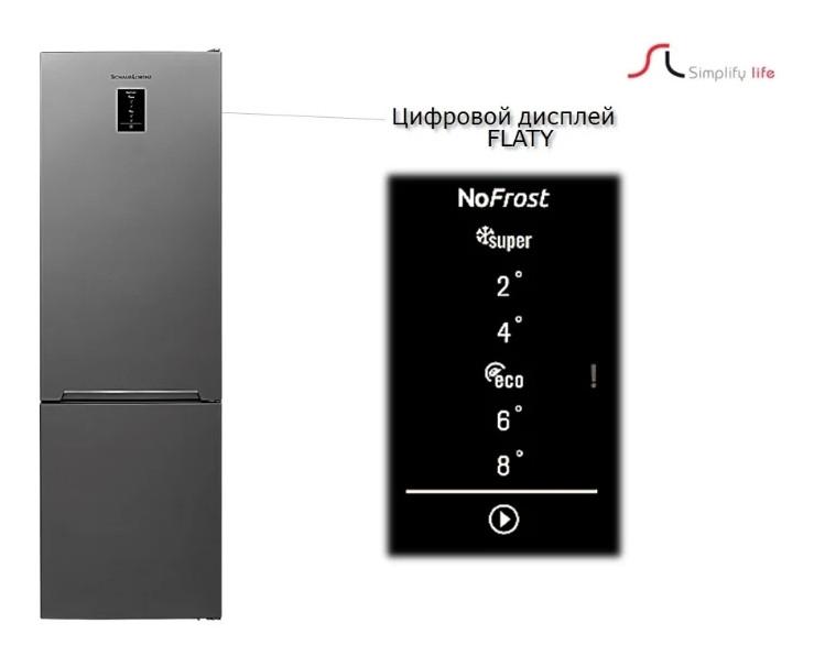 Холодильник Schaub Lorenz SLU S379X4E с дисплеем мраморно-бежевый
