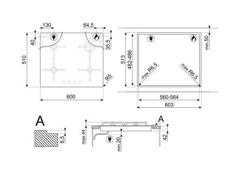Газовая варочная панель Smeg PV864PO