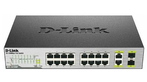 Коммутатор D-LINK DES-1018MP с 16 портами 10/100Base-TX, 2 комбо-портами 100/1000Base-T/SFP и функцией энергосбережения