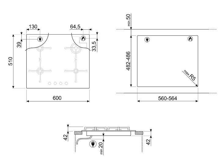 Газовая варочная панель Smeg PV164B2