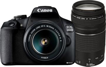 Фотоаппарат Canon EOS 2000D + EF-S 18-55mm f/3, 5-5.6 IS II + EF 75-300mm f/4–5.6 III