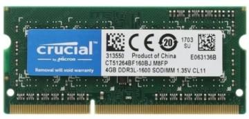 Оперативная память Crucial 4GB DDR3L 1600MHz SODIMM 204pin CL11 CT51264BF160BJ