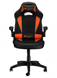 Кресло игровое CANYON Gaming chair, PU leather, Original and Reprocess foam, Wood Frame, Butterfly mechanism, up and down armrest, Class 4 gas lift, Nylon 5 Stars Base,50mm PU caster, black+Orange.