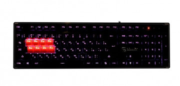 Клавиатура A4 Bloody B3370R черный USB Multimedia for gamer LED (подставка для запястий)