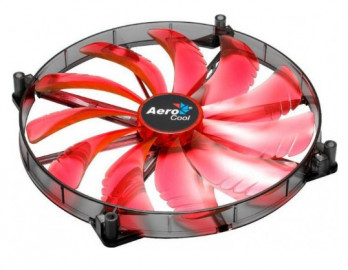 Вентилятор 200x200x25 Aerocool Silent Master Red LED, 3-pin ( AEROSM-20RL )