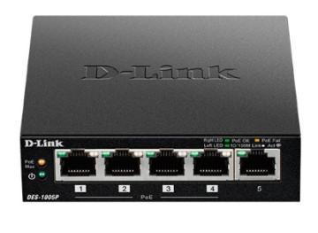Коммутатор D-LINK DES-1005P, неуправляемый, 5 портов RJ45 10/100Mbps, 1 порт POE, позволяет пользова