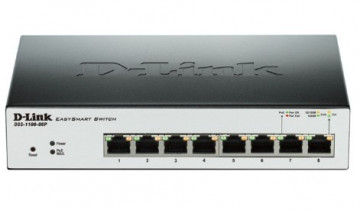 Коммутатор D-LINK DGS-1100-08P, 8 портов 10/100/1000Base-T с поддержкой PoE