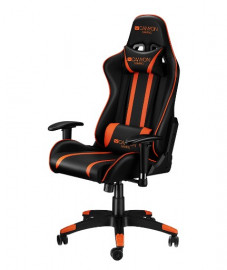 Кресло игровое CANYON Gaming chair, PU leather, Cold molded foam, Metal Frame, Butterfly mechanism, 90-150 dgree, 2D armrest, Class 4 gas lift, Nylon 5 Stars Base, 60mm PU caster, black+Orange.