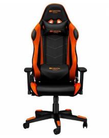 Кресло игровое CANYON Gaming chair, PU leather, Original foam and Cold molded foam, Metal Frame, Butterfly mechanism, 90-165 dgree, 3D armrest, Class 4 gas lift, Nylon 5 Stars Base, 60mm PU caster, black+Orange.