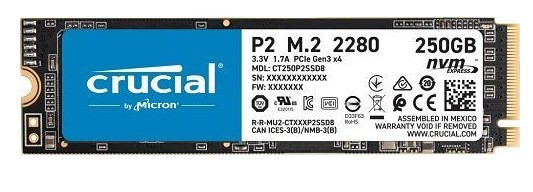Твердотельный накопитель 250Gb SSD Crucial P2 (CT250P2SSD8)