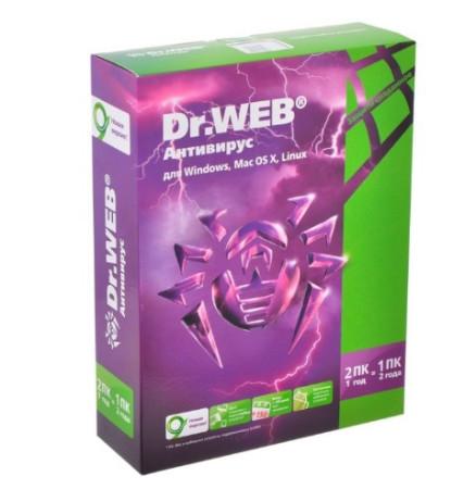 ПО Dr.Web для Windows картонная упаковка, на 12 месяцев, на 2 ПК AHW-A-12M-2-A2/BHW-A-12M-2-A2/A3