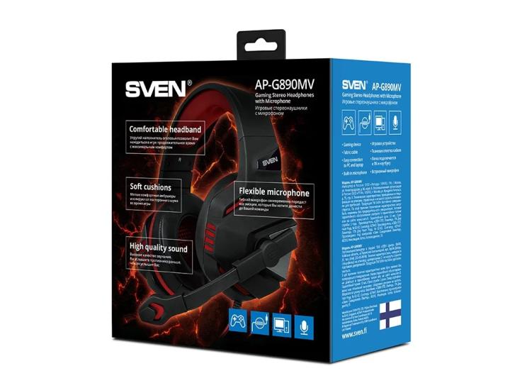 Компьютерная гарнитура SVEN AP-G890MV* (регулятор громкости, регулируемое оголовье) 3pin