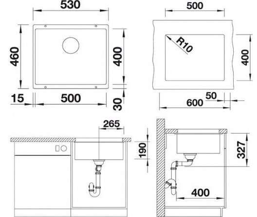Мойка Blanco Subline 500-U Silgranit PuraDur II серый беж InFino®