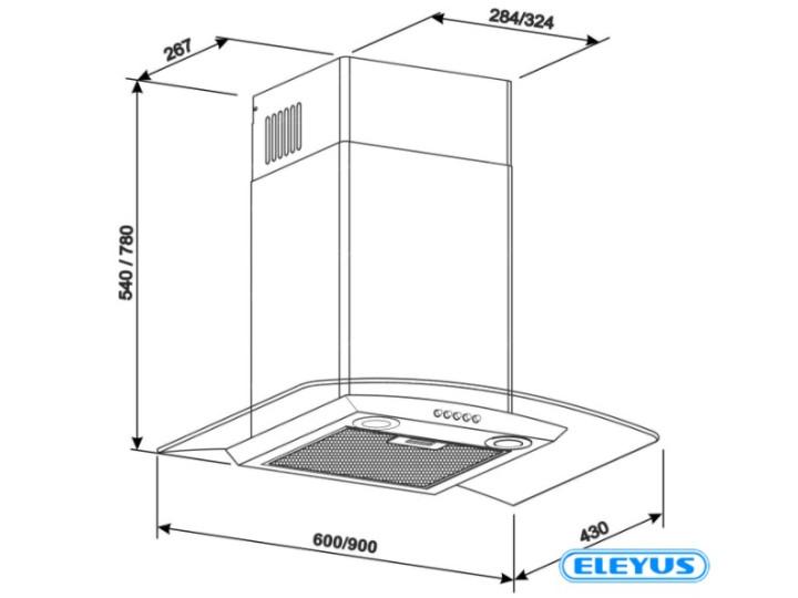 Вытяжка ELEYUS OPTIMA 1000 60 M BL LED черный
