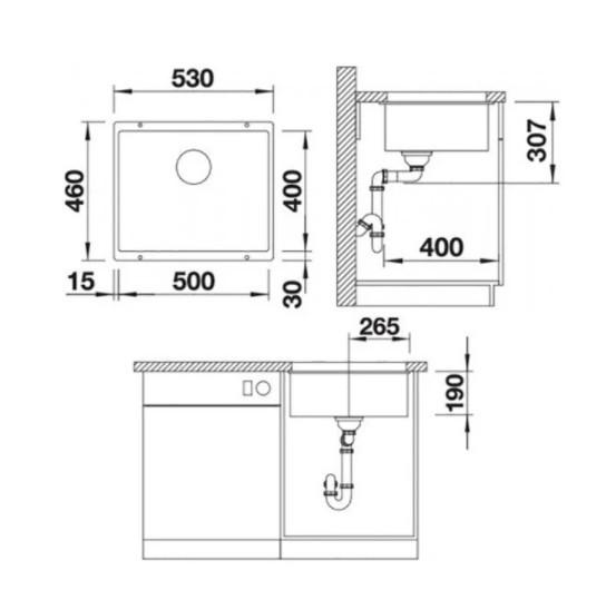 Врезная кухонная мойка 53 см Blanco Rotan 500-U черный