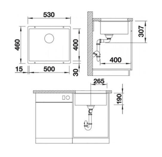 Врезная кухонная мойка 53 см Blanco Rotan 500-U кофе