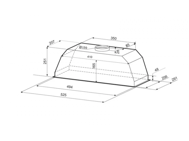 Встраиваемая вытяжка Krona AMELI S 600 inox