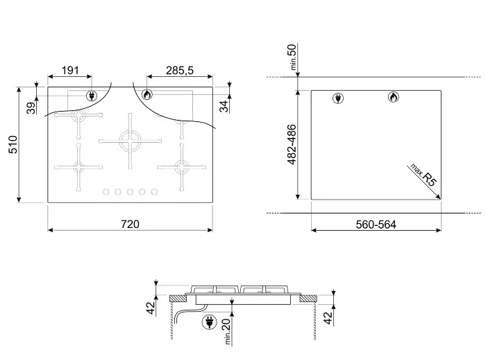 Варочная панель Smeg PV175B2